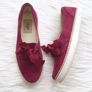 Ugg Dark Pink Suede Carilyn Lace Up Sneakers